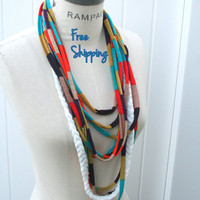 Necklace Scarf Infinity Scarves Beach Jersey  Scarf  Tshirt Scarf Multicolored Infinity Scarf  FREE SHIPPING -By PIYOYO