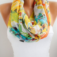 NEW- Silky Chiffon Loop infinity Circle Scarf
