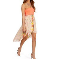 Orange Floral Hi Lo Dress