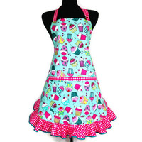 Retro Cupcake Apron / Aqua and Pink, Hostess Style Full Apron with Ruffle