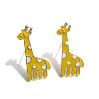 Giraffe Stud Earrings - Yellow and White Polka Dots | dotoly - Jewelry on ArtFire