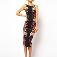 ASOS Pencil Dress With Mirror Flower Print at asos.com