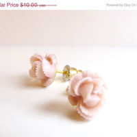 ON SALE Pink Cabbage Rose Post Earrings