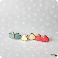 All moods earrings set - mint green, coral, pale yellow
