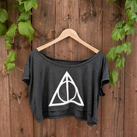 Deathly Hallows Crop Top in Almost Black