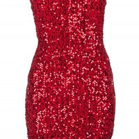 Red Boobtube Sequin Bodycon Dress | Dresses | Desire