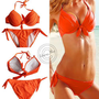 Orange Bikini Swimwear Sexy Womens Halterneck Padded swimsuit S-M-L T78 Tankinis