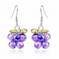 Crystal Yellow And Purple Globe Dangle Earrings - Dangle Earrings - Earrings - Jewelry