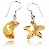 Gold Moon And Star Swarovski Crystal With Sterling silver Dangle Earrings - Dangle Earrings - Earrings - Jewelry