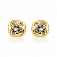 Champagne Gold Diamond Shamrock Stud Earrings - Stud Earrings - Earrings - Jewelry