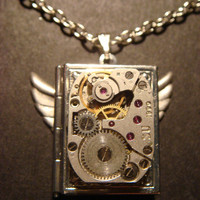 Steampunk Vintage Watch Movement Book LOCKET by CreepyCreationz