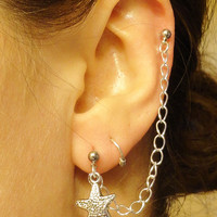 Silver Starfish Ear Lobe to Cartilage Chain Earring