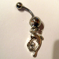 Belly Button Ring Barbell Clear Crystal Silver Tone Dolphin & Ball