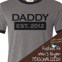 new dad shirt - daddy established 2012 or any year - great father's day shirt gift idea