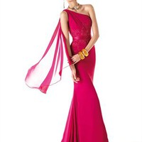 Asymmetrical one-shoulder red chiffon Prom Dresses PSP00235