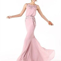 Elegant off-the-shoulder high neckless pink beading chiffon Prom Dresses PSP00219