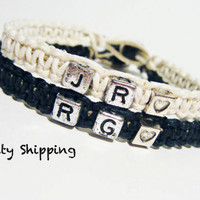 Personalized Initials Bracelets for couples Heart Set of 2