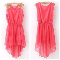 Hot Sleeveless Sequin Shoulder Asymmetrical dress
