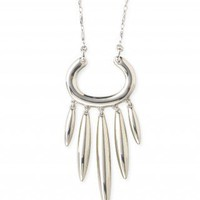 Dramatic White Bronze Elipses Pendant Necklace | Nahla Necklace