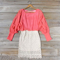 Lace & Quartz Dress in Watermelon, Sweet Women's Bohemian Clothing