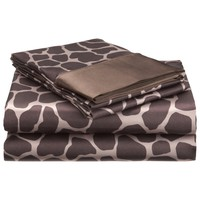 Royal Opulance Satin Sheet Set, Giraffe