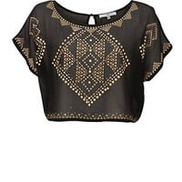 Black and Gold Tribal Stud Crop T-Shirt