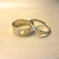 Tiny Heart Couple Rings in Sterling Silver by by LanJewelry