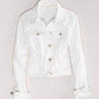 AEO Women's White Denim Jacket (White)