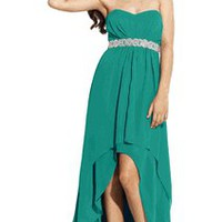 Chiffon Strapless HighLow Gown with Braid Trim | Bridesmaid Dresses