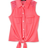 BCX Kids Top, Girls Tie-Front Button-Up Tank - Kids Girls 7-16 - Macy&#x27;s