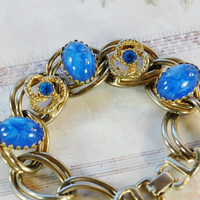 Vintage Juliana D & E Bracelet, Blue Star Sapphire Glass Cabochons, Rhinestones, Chunky Knot Chain, Gold Tone, 1950s 1960s Mad Men Jewelry
