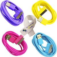 Bundle of 4 Colorful 6 Foot / 6 FT USB Data Sync Cable for Apple iPhone