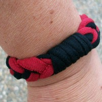 Red and Black Jersey T Shirt Stretchy Bracelet One Size Fits All | JabberJewels - Jewelry on ArtFire