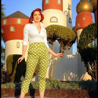 High Waisted Cropped Trousers in Olive and White Fleur De Lis | Pinup Girl Clothing