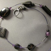 Asymmetric Gemstone Black Agate, Purple Amethyst Necklace