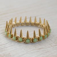 Gold Spike Bracelet with Mint Crystal Bead Detail
