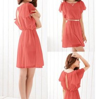 Chiffon Butterfly Sleeve Casual Dress
