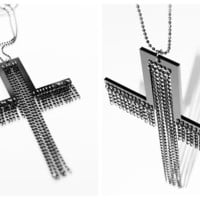 Cross & chains necklace by superwicked on Etsy