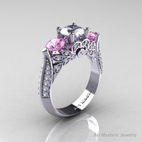 Classic 14K White Gold Three Stone White and Light Pink Topaz Diamond Solitaire Ring R200-14KWGDLPWT