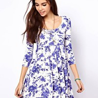 ASOS Smock Dress in Toile de Jouy Print at asos.com
