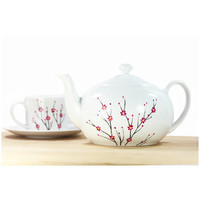 White Ceramic Teapot hand painted blooming cherry tree pink black minimal modern botanical kitchen decor decorative art