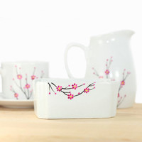 Porcelain Sugar Packet Holder hand painted in blooming cherry tree design minimalist botanical modern kitchen decor