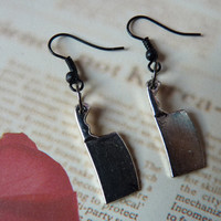 Butcher Knife Goth Earrings - With Back Stoppers