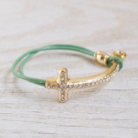 Mint Green Bracelet with Gold Jewel Embellished Cross