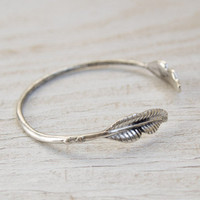 Worn Silver Metal Leaf Open Bracelet
