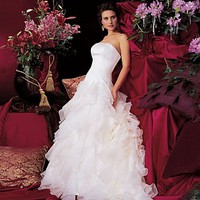 [215.51] Stunning Organza Satin Strapless Ruffles Skirt Wedding Dress In Great Handwork - Dressilyme.com