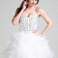 Cocktail Dresses 2013 — A-line Sweetheart Organza Short/Mini White Rhinestone Cocktail Dress at Dresseshop.ca