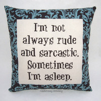 Funny Cross Stitch Pillow, Brown and Blue Pillow, Rude and Sarcastic Quote