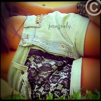 High waisted denim shorts,Studded lace shorts by Jeansonly