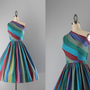 1950s Dress / Vintage 50s One Shoulder Dress Set / by HolliePoint